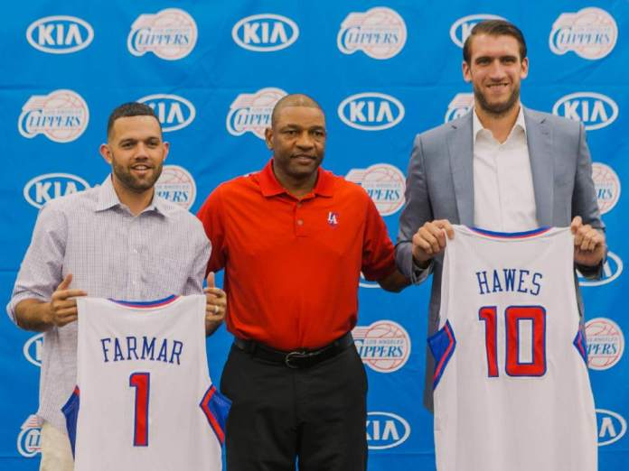 Jordan Farmar, Doc Rivers, and Spencer Hawes