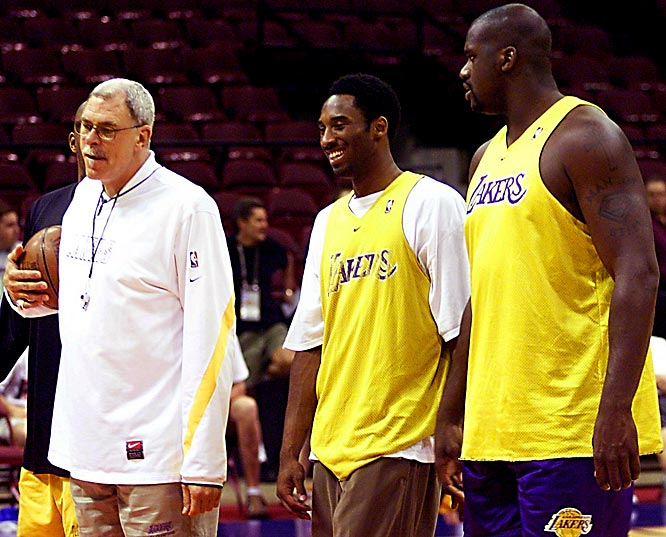 Phil Jackson, Kobe Bryant and Shaquille O'Neal