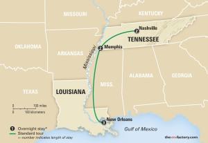 Map - Memphis.New Orleans