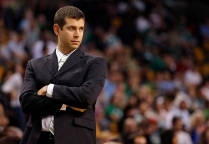 Oct 7, 2013; Boston, MA, USA; Boston Celtics head coach Brad Stevens watches from the sideline as they take on the Toronto Raptors in the first half at TD Garden. Mandatory Credit: David Butler II-USA TODAY Sports