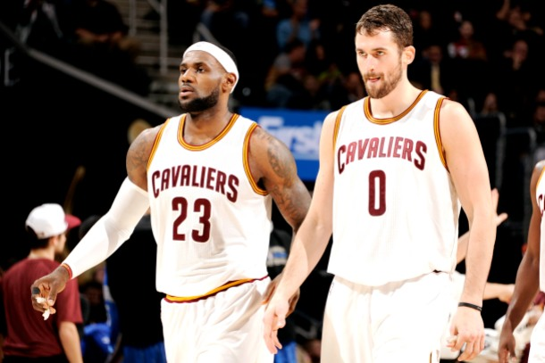 CLEVELAND, OH - NOVEMBER 24: LeBron James #23 and Kevin Love #0 of the Cleveland Cavaliers stand on the court during a game against the Orlando Magic at The Quicken Loans Arena on November 24, 2014 in Cleveland, Ohio. NOTE TO USER: User expressly acknowledges and agrees that, by downloading and/or using this Photograph, user is consenting to the terms and conditions of the Getty Images License Agreement. Mandatory Copyright Notice: Copyright 2014 NBAE (Photo by David Liam Kyle/NBAE via Getty Images)