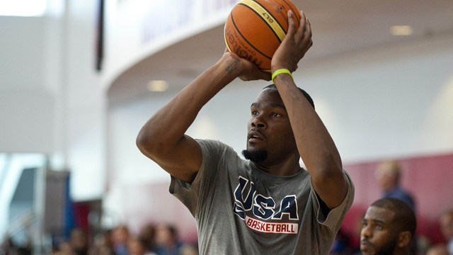 Aug 12, 2015; Las Vegas, NV, USA; Team USA guard Kevin Durant looks to take a shot during the second day of the USA men's basketball national team minicamp at Mendenhall Center. Mandatory Credit: Stephen R. Sylvanie-USA TODAY Sports