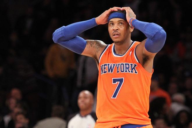 11/3/13 - Minnesota Timberwolves vs. New York Knicks: New York Knicks small forward Carmelo Anthony #7 reacts during the third quarter.