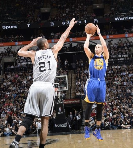 Stephen Curry Shooting the Basketball with Range